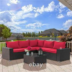 6PCS Outdoor Patio Sofa Set PE Rattan Wicker Sectional Furniture Outside Couch