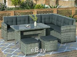6PCS Patio Furniture Set Outdoor Sectional Sofa with Glass Table Ottomans for Pool