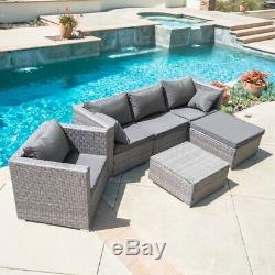 6PC Outdoor Patio Patio Sectional Furniture PE Wicker Rattan Sofa Set Deck Couch