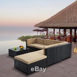 6PC Outdoor Patio Sofa Set Sectional Furniture Wicker Rattan Deck Couch