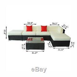 6PC Patio Furniture Set Rattan Wicker Sofa Outdoor Garden Couch Deck Cushioned