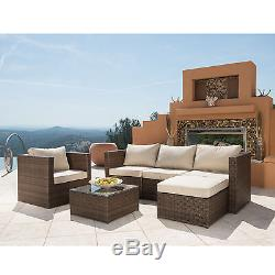 6PC Patio PE Wicker Furniture Sectional Set Backyard Outdoor Garden Sofa Set