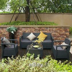 6PC Patio Rattan Wicker Sofa Set Cushined Couch Furniture Outdoor Garden