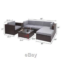 6PC Rattan Wicker Sofa Set Sectional Couch Cushioned Furniture Patio Outdoor