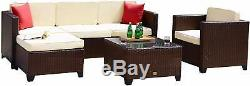 6PC Rattan Wicker Sofa Set Sectional Couch Outdoor Patio Furniture with Cushions