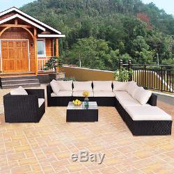 6-10 Outdoor Patio Rattan Furniture Set Infinitely Combination Wicker Cushioned