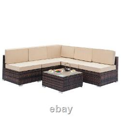 6 PCS Outdoor Patio Furniture Couch Wicker Rattan /w Cushions Sofa Sectional Set