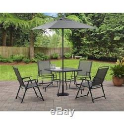 6 Pc Patio Set Outdoor Folding Chairs and Table Backyard Furniture, Grey