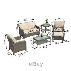6pc Patio Furniture Section Outdoor Rattan Wicker Sofa 360° Swivel Chair Garden