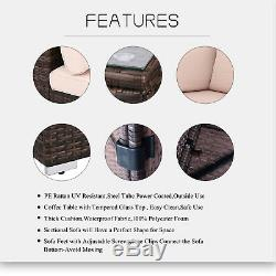6pcs Outdoor Outside Patio Sofa Set PE Rattan Brown Wicker Sectional Furniture
