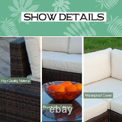 6pcs Patio Furniture Set PE Brown Rattan Wicker Sectional Outdoor Sofa Tbale Set