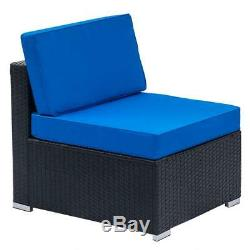 7PCS Outdoor Patio Furniture Wicker Rattan Cushions Sofa Sectional Black Blue