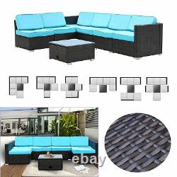 7PCS Outdoor Patio Sectional Furniture PE Wicker Rattan Sofa Set Cushioned Couch