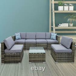 7PCS Outdoor Patio Sectional Furniture PE Wicker Rattan Sofa Set Garden Yard