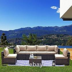7PCS Outdoor Patio Sofa Set PE Rattan Wicker Sectional Furniture Couch Garden