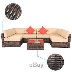 7PCS Rattan Wicker Patio Furniture Outdoor Garden Lawn Sectional Sofa Set