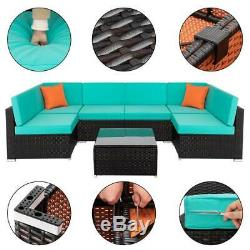 7PCS Sectional Outdoor Patio Furniture Wicker Rattan Sofa Set Couch + 2 Pillows