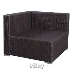 7PC Outdoor Patio Furniture Rattan Wicker Sectional Sofa Chair Couch Set Brown