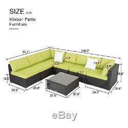 7PC Outdoor Patio Furniture Rattan Wicker Sectional Sofa Chair Set WithCushion