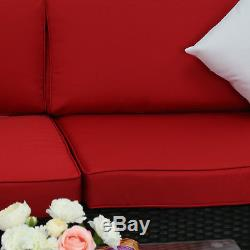 7PC Outdoor Patio Furniture Rattan Wicker Sectional Sofa Set, with Red Cushions