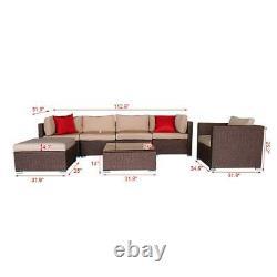 7PC Outdoor Patio Sectional Furniture Wicker Rattan Sofa Table Set Backyard