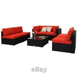 7PC Patio Sofa Furniture Garden Outdoor PE Rattan Poolside Yard Sectional Set