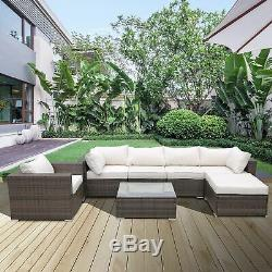 7PC Rattan Wicker Sofa Set Sectional Couch Cushioned Furniture Patio Outdoor