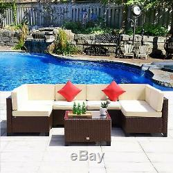 7PC Rattan Wicker Sofa Set Sectional Couch Outdoor Patio Furniture Cushion Beige