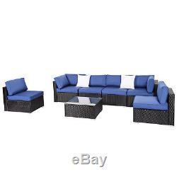 7PC Wicker Sofa Set Garden Rattan Sectional Furniture Outdoor Patio Cushion Navy