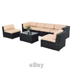 7 PCS Outdoor Patio Sofa Set Furniture Wicker Rattan Deck Couch WithBrown Cushion