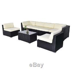 7 PCS Outdoor Patio Sofa Set Sectional Furniture Black PE Rattan Deck Couch New
