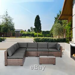 7 PCS Outdoor Sectional Sofa Set All-weather Rattan Wicker Furniture Patio Deck