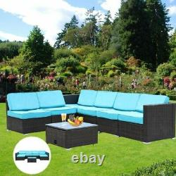 7 PCS Patio Furniture Sectional Sofa Set Outdoor Rattan Wicker Cushioned Couch