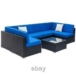 7 PCS Patio PE Rattan Wicker Sofa Sectional Set Outdoor Cushioned Furniture Lawn