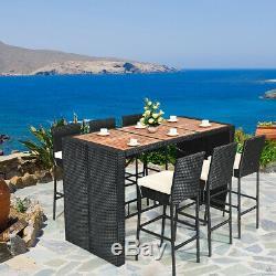 7 PCS Patio Rattan Wicker Bar Dining Furniture Set wood Table Outdoor Indoor