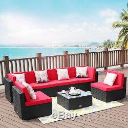 7 PCS Patio Rattan Wicker Sofa Set Cushioned Furniture Outdoor Sectional Table