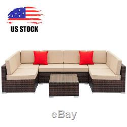 7 PCS Patio Rattan Wicker Sofa Set Sectional Couch Cushioned Furniture Outdoor