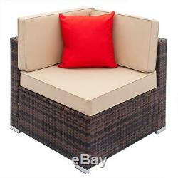 7 PCS Rattan Wicker Sofa Set Sectional Couch Cushioned Furniture Patio Outdoor