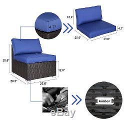 7 PC Indoor Patio Rattan Wicker Sofa Set Cushioned Sectional Garden Outdoor Navy
