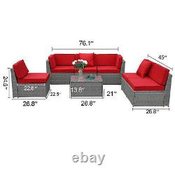 7 PC Outdoor Patio Rattan Sofa Set Wicker Section Couch Cushion Furniture Red