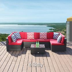7 PC Patio Rattan Wicker Sofa Set Sectional Couch Cushioned Furniture Outdoor