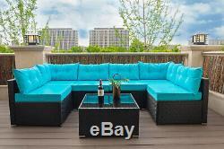 7 PC Rattan Furniture Sectional Home Outdoor Garden Patio Balcony Sofa Set Blue