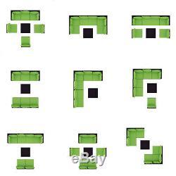 7 PC Rattan Furniture Sectional Home Outdoor Garden Patio Balcony Sofa Set Green