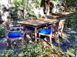 7 Pc Teak Dining Set Garden Outdoor Patio Furniture Giva Deck (60 Rect Table)