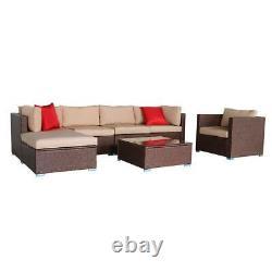 7 Pcs Indoor/Outdoor Wicker Sofa Furniture Patio Rattan Sectional Sofa Set