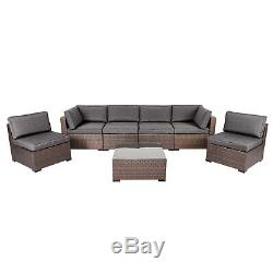 7 Pcs Outdoor Furniture Rattan Wicker Sofa Patio Couch Set Cushioned Garden Lawn