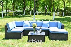 7 Pcs Outdoor Patio Furniture Sectional Sofa Sets Rattan Wicker Sofa Cushioned