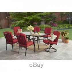 7 Piece Dining Set Red Fabric Cushions Swivel Chairs Outdoor Patio Furniture New