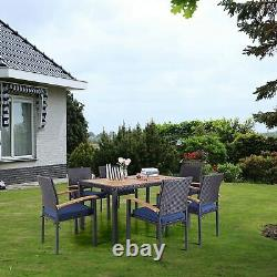7-Piece Patio Dining Set Rattan Wicker Table Chairs Outdoor Furniture Set