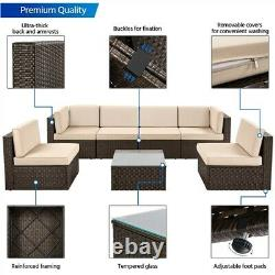 7 Pieces Patio Furniture Set, PE Rattan Wicker Outdoor Sofa Set with Cushions